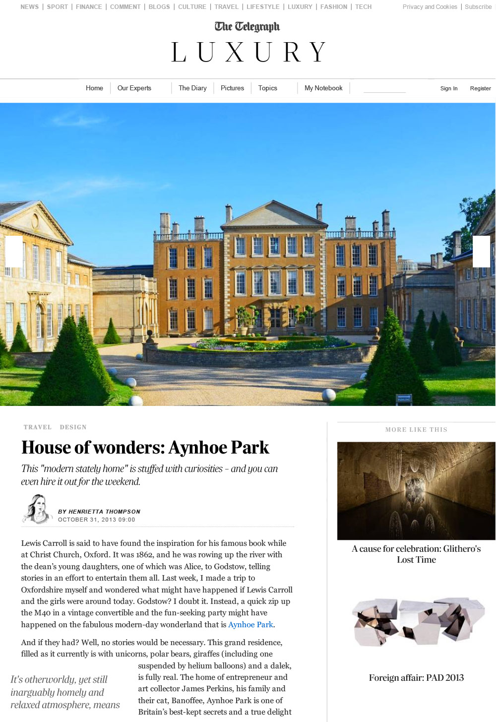 Aynhoe Park in The Telegraph